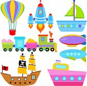 A set of cute Vector Icons : Boat / Ship / Aircraft Vehicles / Transportation