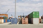 View of stacked containers against sky in stockyard at Limassol Cyprus