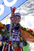 SOELDEN, AUSTRIA -OCT 25: Chemmy Alcott GBR with her medal from the womens giant slalom race at the Rettenbach Glacier Soelden Austria, the opening race of the 2008/09 Audi FIS Alpine Ski World Cup in Soelden, Austria on Oct. 25, 2008.