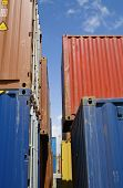 Stacked containers in seaport stockyard at Limassol Cyprus