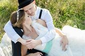 picture of heterosexual couple  - Happy couple on wedding day - JPG