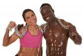 Fitness Couple Chain Sweat Smile Close