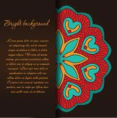 Vintage background with bright colors mandala and place for your text