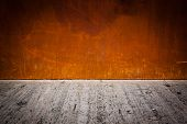 Rusty Metal Plate Background With Concrete Floor