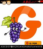 Letter G With Grapes Cartoon Illustration