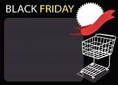 Warenkorb und leere Banner am schwarzen Freitag-Hintergrund