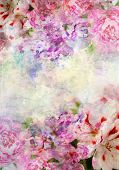 foto of combine  - Abstract ink painting combined with flowers on grunge paper texture - JPG