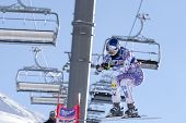 VAL D'ISERE FRANCE. 18-12-2010. Lindsey Vonn (USA) takes to the air during the women's downhill race