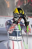 VAL D'ISERE FRANCE. 11-12-2010. HIRSCHER Marcel (AUT)   reacts in the finish area after the FIS alpi