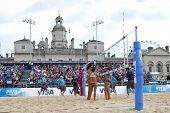 12/08/2011 LONDON, ENGLAND, Fan Wang & Yuanyuan Ma (CHN) vs Candelas Bibiana & Mayra Garcia (MEX) during the FIVB International Beach Volleyball tournament, at Horse Guards Parade, Westminster, London