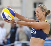 12/08/2011 LONDON, ENGLAND,  Denise Johns (GBR) during the FIVB International Beach Volleyball tournament, at Horse Guards Parade, Westminster, London.