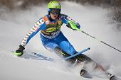 VAL D'ISERE FRANCE. 12-12-2010. BAECK Axel SWE attacks a control gate during the FIS alpine skiing w