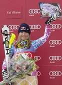 VAL D'ISERE FRANCE. 19-12-2010. Lindsey Vonn (USA) during the medal ceremony for the women's Super C