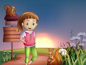 stock photo of hilltop  - Illustration of a teenager at the hilltop with two squirrels - JPG