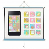 Gift Phone With Several Icons On Project Screen. Vector Design