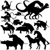 image of mating animal  - Set of editable vector silhouettes of various animals mating with each figure as a separate object - JPG