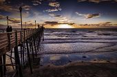 stock photo of mile  - Oceanside Pier at sunset - JPG
