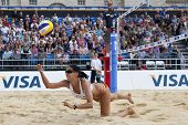 12/08/2011 LONDON, ENGLAND, Candelas Bibiana (MEX) during the FIVB International Beach Volleyball to
