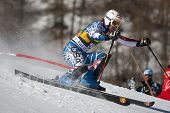 VAL D'ISERE FRANCE. 12-12-2010. KASPER Nolan USA attacks a control gate during the FIS alpine skiing world cup slalom race on the Bellevarde race piste Val D'Isere.