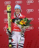 LIENZ, AUSTRIA 28 December 2009. Kathrin Hoelzl (GER) winner of the the women's Audi FIS Alpine Skiing World Cup giant slalom race.