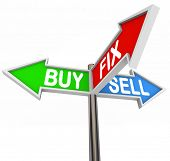 The words Buy, Fix and Sell on three arrow signs to illustrate buying a house, fixing it and selling the house to a new buyer, or flipping real estate
