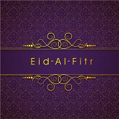 Golden text Eid Al Fitr (Eid Mubarak) text on floral decorated purple background for Muslim communit