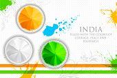image of indian flag  - illustration of gulal in tricolor of Indian flag - JPG