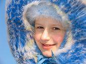 Winter Portrait Of Smiling Girl poster