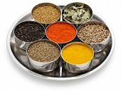 indian spices collection on white background