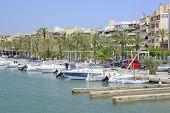 View from the sea in Port de Alcudia, Majorca
