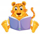 Illustration of a tiger reading on a white background