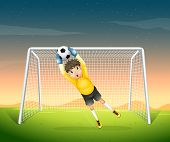 Illustration of a young football player in his yellow uniform