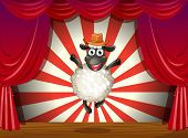 Illustration of a stage with a sheep jumping at the center