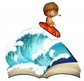 Illustration of an open book with a boy surfing on a white background