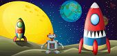 stock photo of outerspace  - Illustration of a robot between two spaceships at the outerspace - JPG