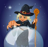 stock photo of witch ball  - Illustration of a witch with a cane in front of a magical ball - JPG