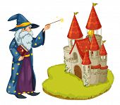 Illustration of a wizard holding a book and a magic wand in front of the castle on a white backgroun