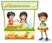 Illustration of the three kids selling refreshing drinks on a white background