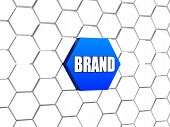Brand In Blue Hexagon poster
