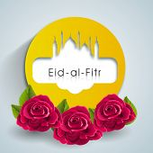 Muslim community festival Eid Al Fitr (Eid Mubarak) tag, labels or stickers with red roses on abstra
