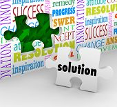 A puzzle piece with the word Solution as the answer to a problem or solved challenge and a wall fill
