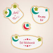 Tags, labels and stickers for Muslim community festival Eid Mubarak.