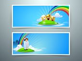 picture of ramazan mubarak card  - Website header or banner set for Muslim community festival Eid Mubarak - JPG