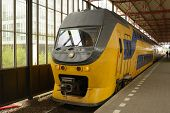 EINDHOVEN, NETHERLANDS - JUNE 23: Regional train arrives on the train station of Eindhoven, Netherla