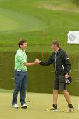 MOSCOW, RUSSIA - JULY 27: Pablo Martin Benavides of Spain handshakes with his caddie during 3rd roun