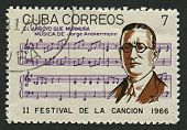 CUBA - CIRCA 1966: A stamp printed in Cuba shows image of the Jorge Anckermann (Havana, 22 March 1877 - 3 February 1941) was a Cuban pianist, composer and bandleader, circa 1966.
