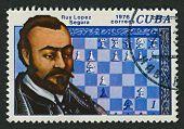 CUBA - CIRCA 1976: Een stempel gedrukt in Cuba toont foto van de Rodrigo (Ruy) Lopez de Segura (ca. 1530