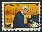 CUBA - CIRCA 1977: A stamp printed in Cuba shows image of the Antonio Maria Romeu Marrero (11 Septem