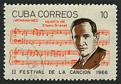 CUBA-CIRCA 1966:A stamp printed in Cuba shows image of the Eliseo Grenet Sanchez (12 June 1893 in Ha