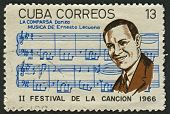 CUBA - CIRCA 1966: A stamp printed in Cuba shows image of the Ernesto Lecuona y Casado  was a Cuban